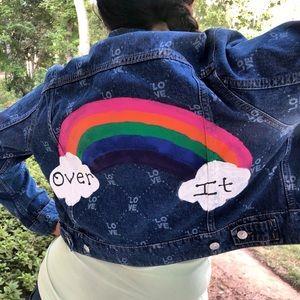 Hand painted custom denim jacket